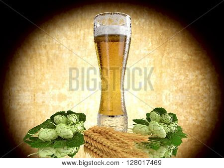 been drinking a glass of beer with barley and hops -  3D render