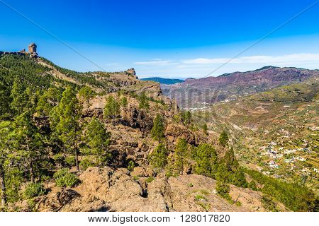 Scenic View Of Roque Nublo - Gran Canaria Canary Islands Spain