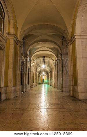Lisbon, Lisbon, Portugal - December 4, 2105: Passage with arches in Lisbon in Portugal