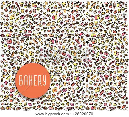 Hand drawn bakery seamless pattern,  bakery doodles elements,  bakery seamless background. Bakery Vector sketchy illustration