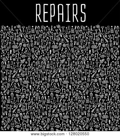 Hand drawn repairs construction tools seamless pattern, repairs doodles elements, repairs seamless background. Repairs sketchy illustration