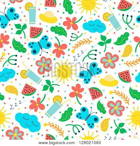 Seamless pattern with hand drawn objects: sun and cloud flowers and leaves. Sketch illustration. Pattern for children's textiles wallpaper.