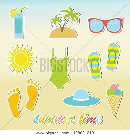 Summer time colorful stickers set:travel vacation beach hiking. Design elements for scrapbooking and advertise travel service. Isolated elements.Vector illustration.