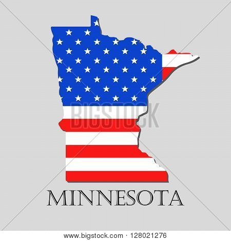 Map of the State of Minnesota and American flag illustration. America Flag map - vector illustration.