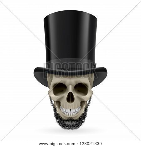 Human skull with beard wearing a black top hat.