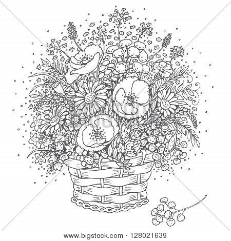 Hand drawn bouquet of wild flowers in a basket. Monochrome elements for coloring.
