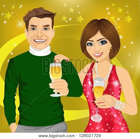 Middle-aged man and young woman celebrate with wine glasses in their hands over disco background