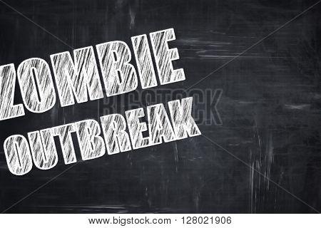 Chalkboard writing: zombie virus concept background