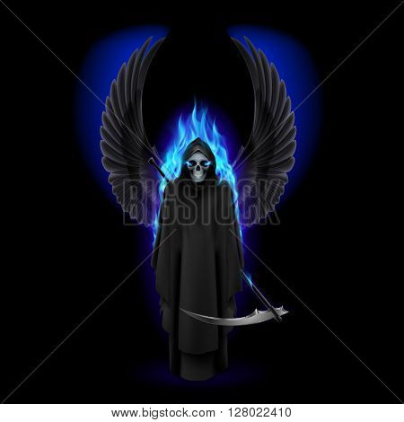Grim Reaper with wings and blue flame on black