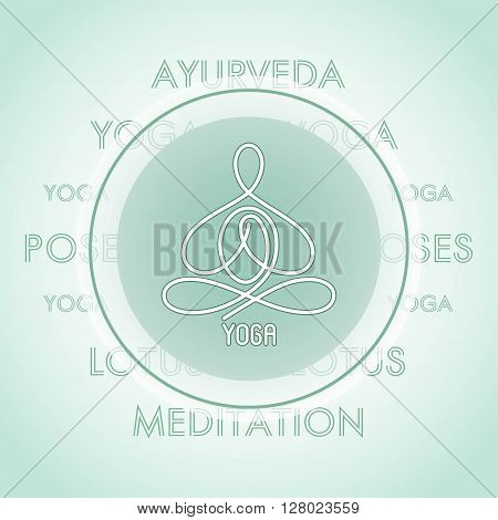 yoga pose linear design in a circle on the background of the text