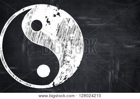Chalkboard writing: Ying yang symbol