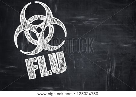 Chalkboard writing: Influenza virus concept background