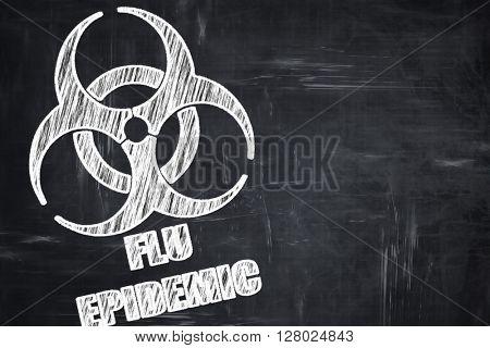 Chalkboard writing: Flu virus concept background