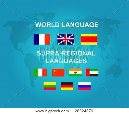 Vector detailed character Language translator concept with world map and flags of the world languages, cool flat  illustration