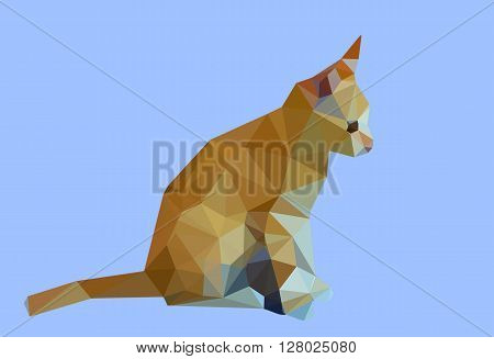 Digital illustration - Low Poly Cat. Triangle polygonal stile siamese kitten. Flat design creative illustration. Low poly style cat, modern polydonal design. Low poly cat design on blue background.