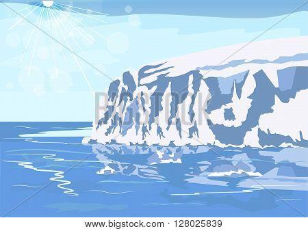 Antarctic iceberg in the snow. Beautiful winter scenery