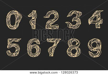 Handwritten linear numeral, vector script calligraphy numeral. Hand drawn thin letters numeral, doodle