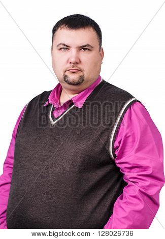 Businessman with overweight displeased isolated on white