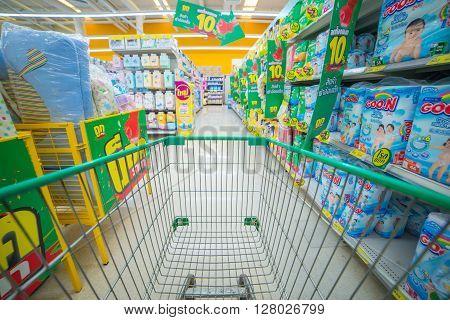Bangkok Thailand, 5 December 2015: Rows Of Shelves In Big C Supermarket In Ladprao District, Bangkok