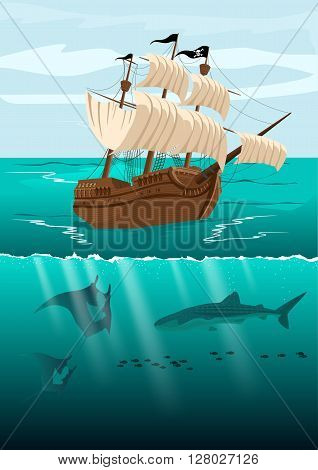 Over-under split view of a pirate ship and underwater scenery with marine life