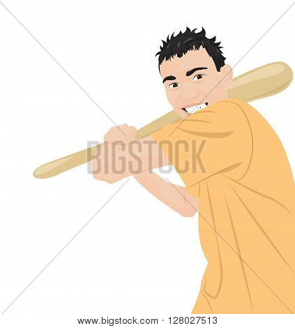 Crazy aggressive guy with a bat. Vector illustration