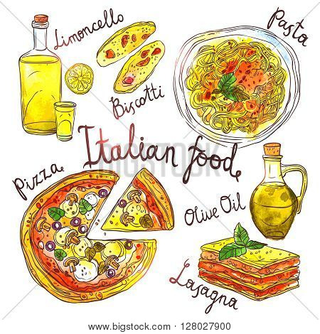Italian Food, Hand Drawn Watercolor Illustration With Pizza, Pasta, Lasagna, Biskotti, Olive Oil And Limoncello