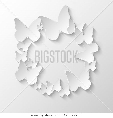 Background with paper butterflies, vector eps 10