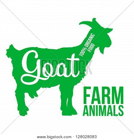 green contour farm animal with a white lettering  inscription inside, Logo goat vector animal, outline for the product, vector illustration contour farming goat with lettering on the mutton meat