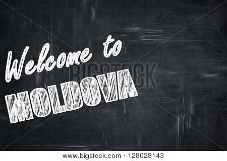 Chalkboard background with chalk letters: Welcome to moldova