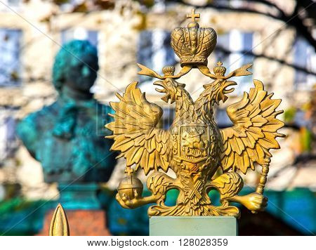 two-headed eagle and crown symbol of the coat of arms of the State Russian