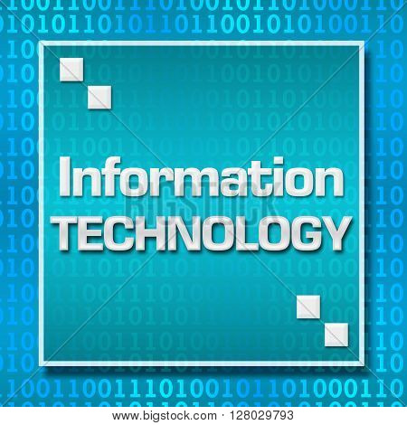 Information technology text written over blue binary background.