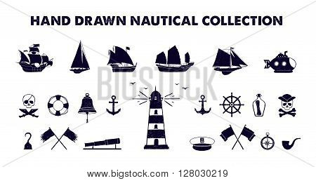 Hand drawn textured marine vector illustrations collection.
