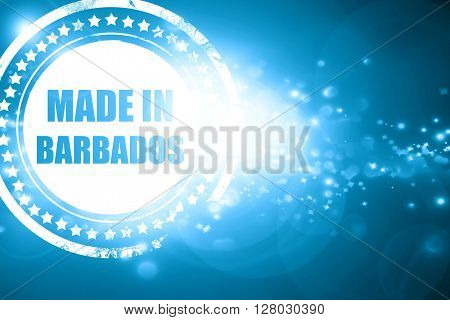 Blue stamp on a glittering background: Made in barbados