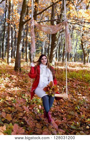 an expectant mother goes for a walk in the autumn park of swing bouquet ** Note: Soft Focus at 100%, best at smaller sizes