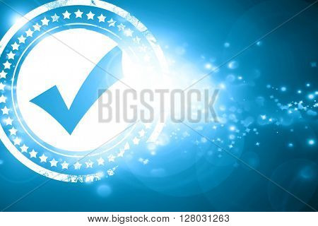 Blue stamp on a glittering background: Approved tick with smooth