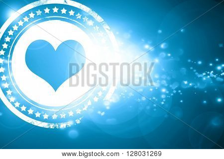 Blue stamp on a glittering background: Hearts card background