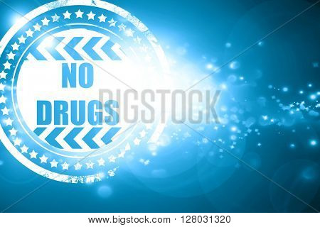 Blue stamp on a glittering background: No drugs sign