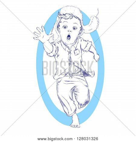 Running excited barefooted boy in a fur hat and pointing forward sketch