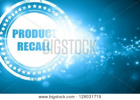 Blue stamp on a glittering background: product recall