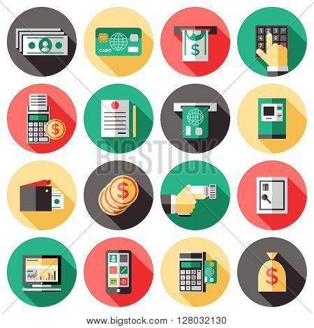 Icon Set with the elements of banking system used for payments with cash ATM terminal checkbook vector illustration