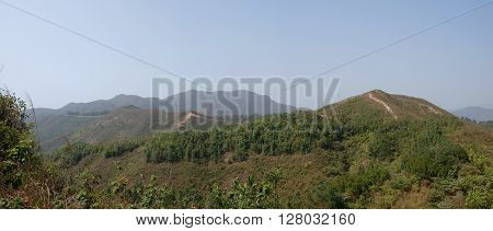 View on mountains of Lantau island in Hong Kong