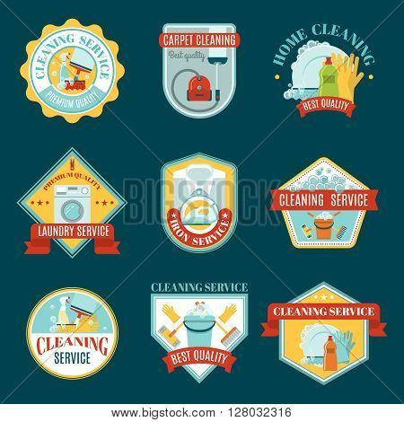 Colored emblem set with types of cleaning services and tools for cleaning and washing colored with different shapes vector illustration