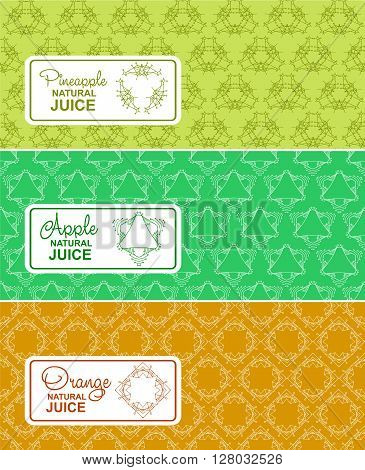 Seamless logo with label for natural juice, freshly squeezed juice packaging. Linear vector illustration for apple juice, orange juice, pineapple juice packaging