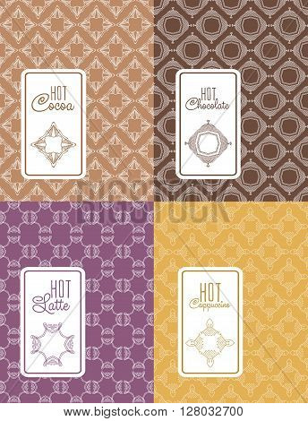 Seamless logo with label for chocolate, latte, cappuccino, cocoa packaging. Linear vector illustration for chocolate, latte, cappuccino, cocoa packaging.