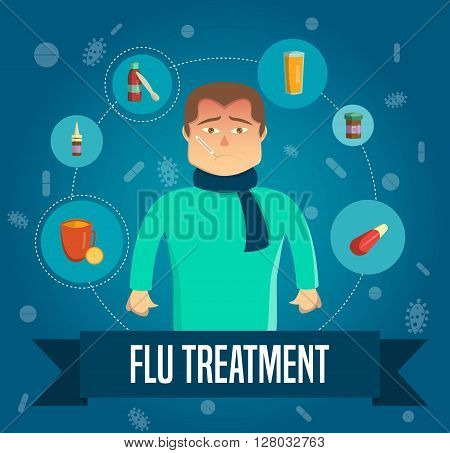 Fly symptoms in human poster and treatment of various means and medicines decrease in temperature vector illustration