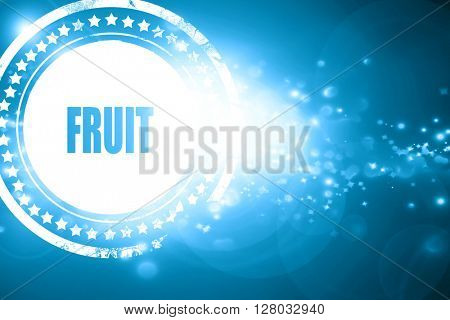 Blue stamp on a glittering background: Delicious fruit sign