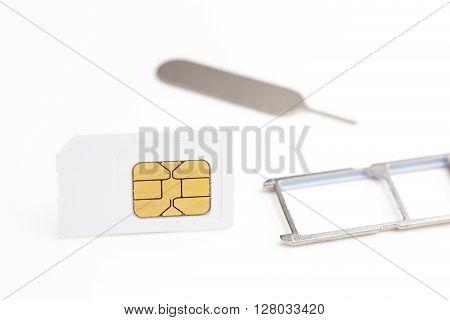 Sim Card,sim Card Adapter, Sim Card Eject Tool, Digital Media Put On White Background