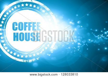Blue stamp on a glittering background: Coffee house sign