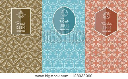 Seamless logo with label for biscuits cookies, oatmeal cookies, chocolate cookie packaging. Linear vector illustration