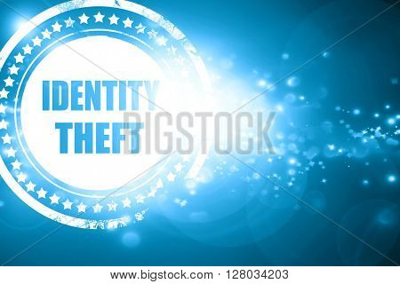 Blue stamp on a glittering background: Identity theft fraud back